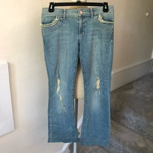 ABS Luxury Collection Studded Distressed Jeans EUC